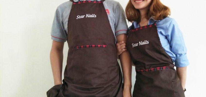 tạp dề màu socola cho nhân viên phục vụ