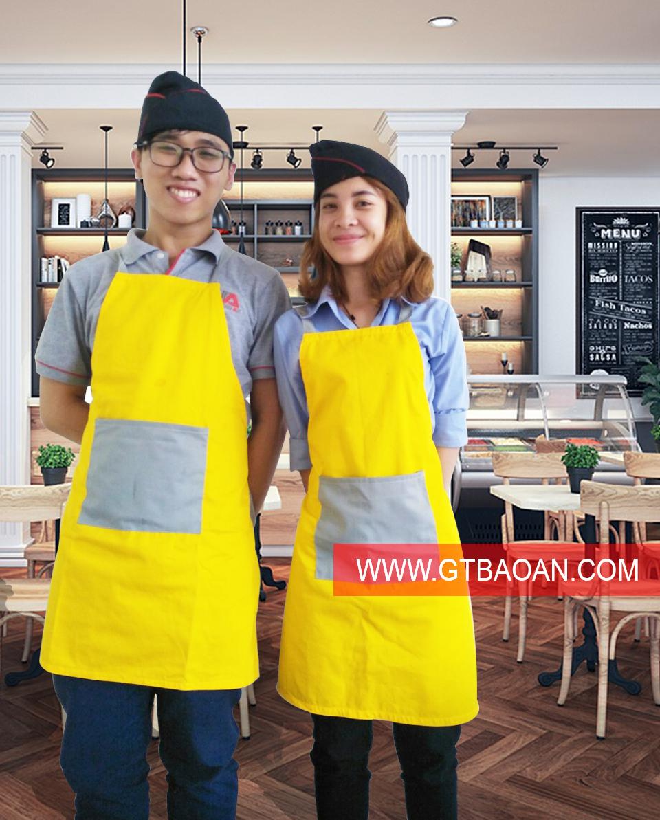 tạp dề màu vàng phối xám cho nhân viên phục vụ