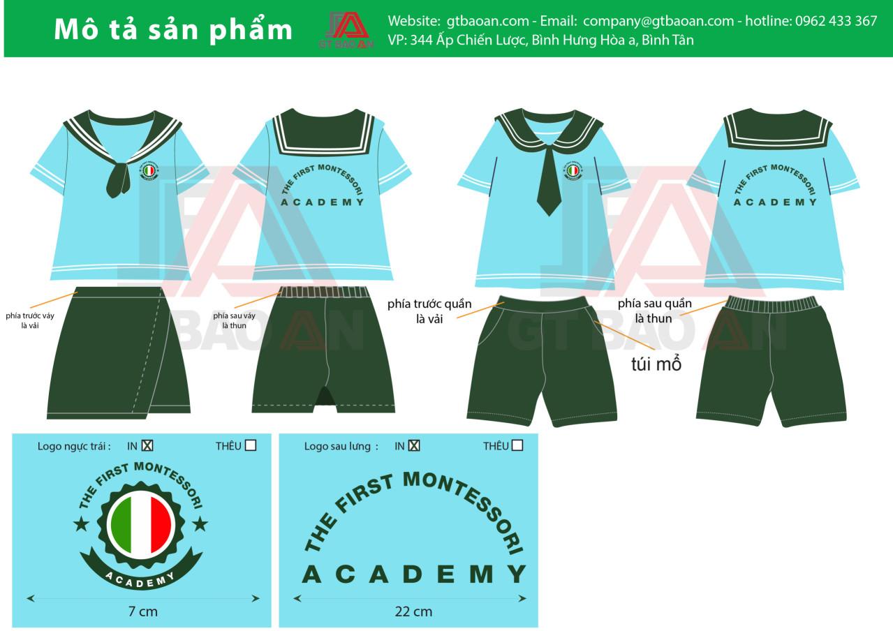 Mẫu đồng phục trường mầm non montessori