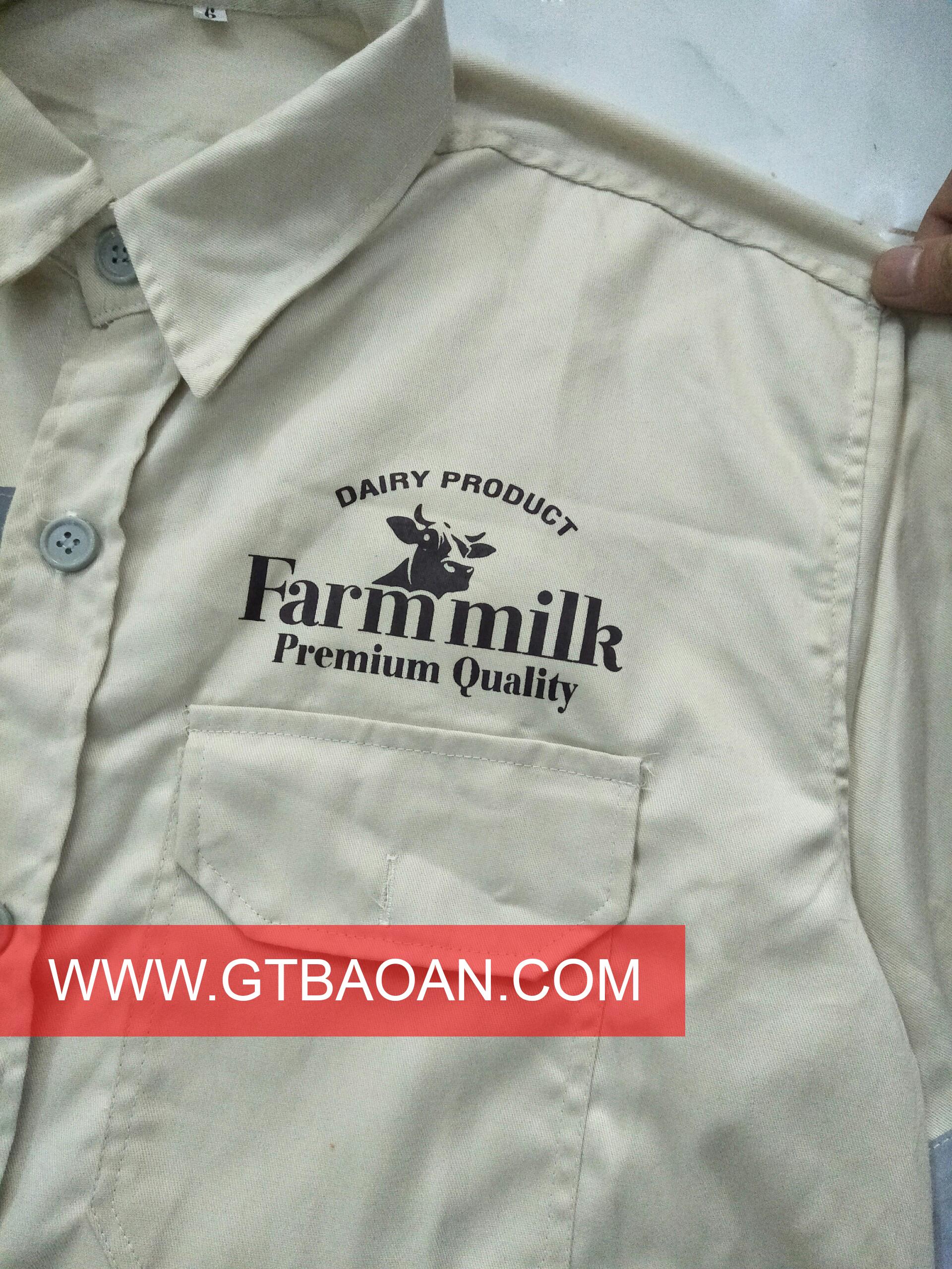 Áo quần bảo hộ lao động tay dài CHẤT kaki 65/35 - công ty Farm milk