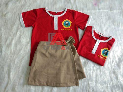 Áo thun cổ tròn đồng phục trường mầm non Gấu Trắng