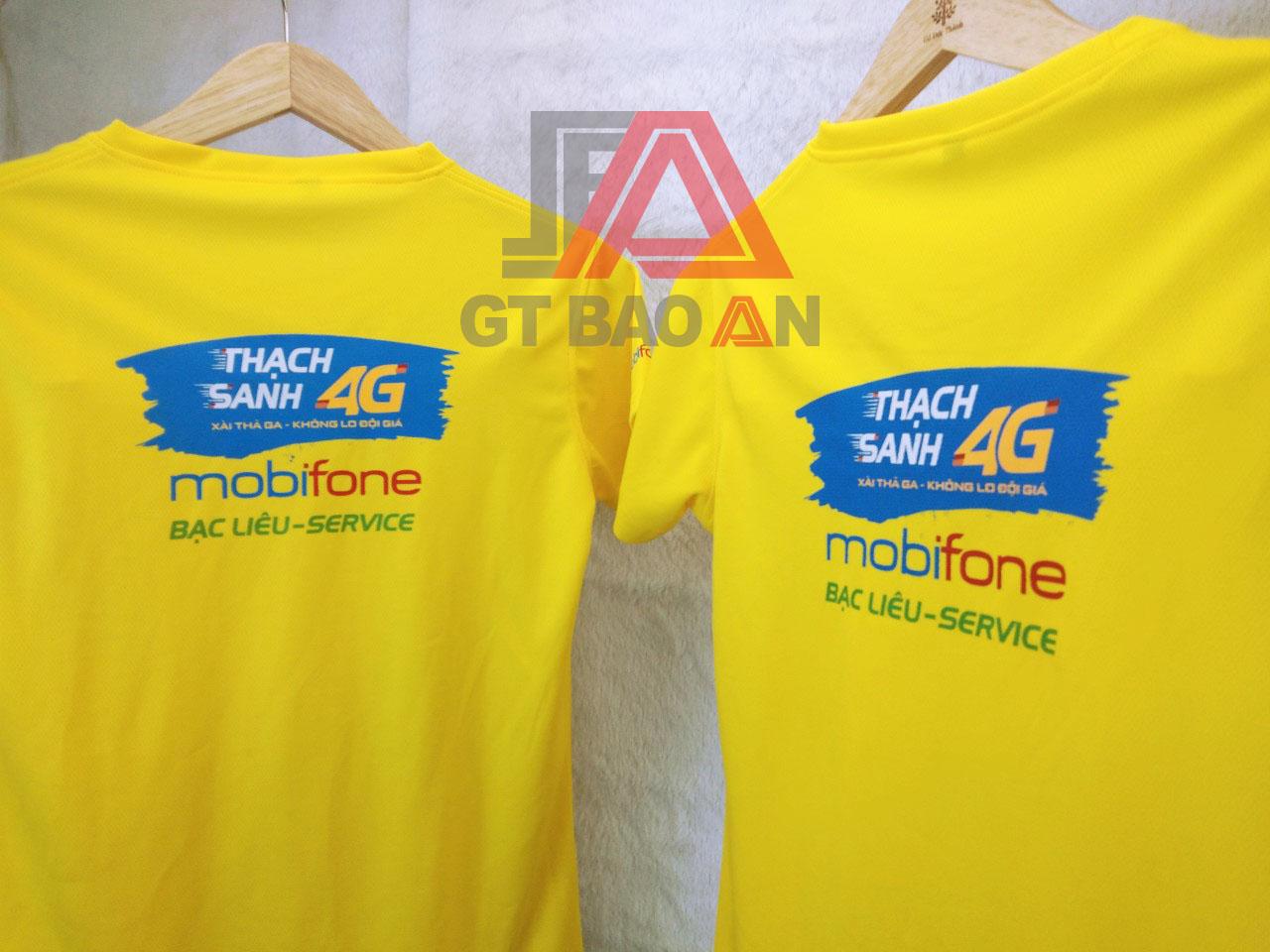 Áo thun nhân viên cửa hàng Mobifone Bạc LiêuÁo thun nhân viên cửa hàng Mobifone Bạc Liêu